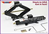 Set of 2 5000lbs 20'' RV Trailer Stabilizer Leveling Scissor Jacks w/handle & Power Drill Socket & Mounting hardware 26036