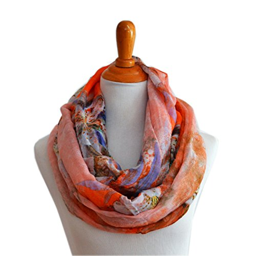 (SCARF_TRADINGINC Lily Floral Patterns Infinity Loop Scarf Cowl (Lily Salmon red))
