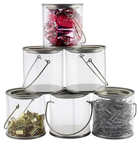 Mini Clear Plastic Paint Cans (6-Pack), 3-Inch Tall Miniature Arts, Crafts and Party Favor Cans -
