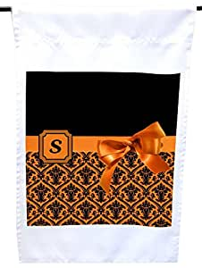 """Rikki Knight Letter S"""" Orange Monogram Damask Bow House or Garden Flag, 12 x 18-Inch Flag Size with 11 x 11-Inch Image"""