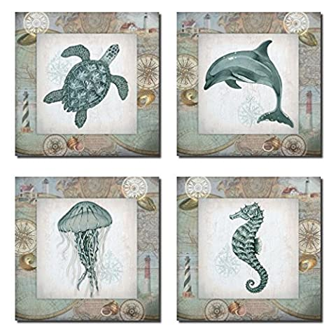 4 Lovely Teal Seahorse Jellyfish Dolphin and Turtle Poster Prints; Nautical Collage Decor; Four 12 x 12 Poster - Seahorse Wall Decor