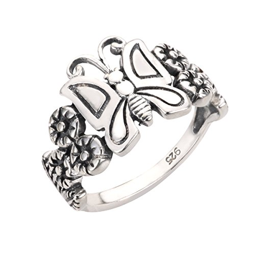 (CloseoutWarehouse Sterling Silver Butterfly Flower Forever Ring Size)
