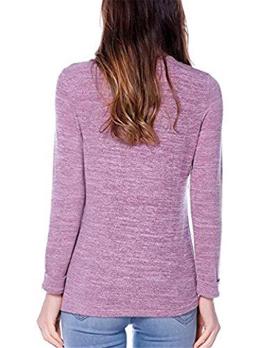 Maternity Premaman Collo Purple Lunghe Ailient Allattamento Maglietta Top Comoda Rotondo Sciolto T Maniche Donna Bluse L'allattamento shirt 6qS5xqazw