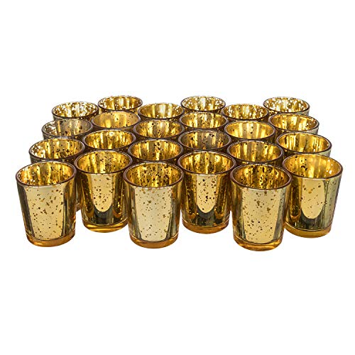 (Royal Imports Gold Mercury Glass Votive Candle Holder, Table Centerpiece Tealight Decoration for Elegant Dinner, Party, Wedding, Holiday, Set of 24 (Unfilled))