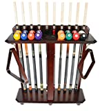 #7: Cue Rack Only - 10 Pool - Billiard Stick & Ball Set Floor - Stand Choose Mahogany, Black Or Oak Finish
