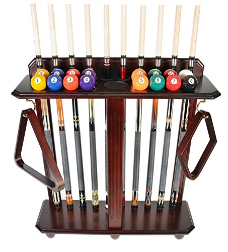 Cue Rack Only - 10 Pool - Billiard Stick & Ball Set Floor - Stand Mahogany Finish (Mahogany)