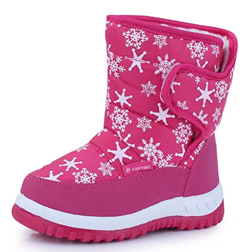 CIOR Fantiny Winter Snow Boots for Boy and Girl Outdoor Waterproof with Fur Lined(Toddler/Little Kids) TX4-Pink-24