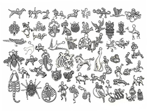 Bracelet Animal Charm - Kinteshun Alloy Multistyle Creatures Animals Charm Pendant for DIY Jewelry Making Accessaries(55pcs,Antique Silver Tone)