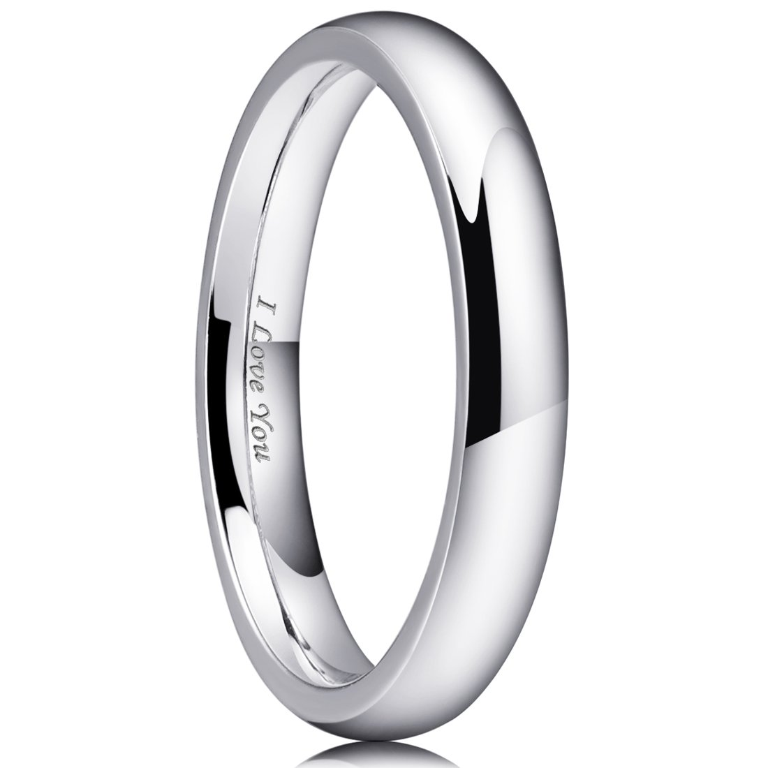 King Will 3mm Stainless Steel Ring Original Color Full High Polished with Laser Etched I Love You(8.5)