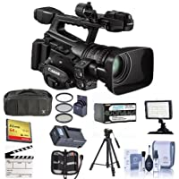 Canon XF-300 High Definition Professional Camcorder, - Bundle With Video Bag, Spare Battery, 64GB Compact Flash Card, Tripod, Video Light, 82mm Filter Kit, Cleaning Kit, Memory Wallet, And More