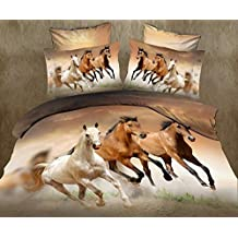 LOVE(TM)Galloping Horse Bedding Sets, 100% Polyester 3d Bedding Sets, 4pcs with Duvet Cover, Bed Sheet, 2 pillow Cases(Comforter Not Included)