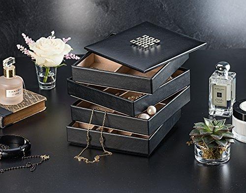 Glenor Co Jewelry Organizer Tray 4 Stackable Trays Amp Lid Mirror 27 Slot Storage Drawer