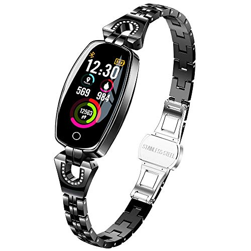 Women Fitness Tracker Bracelet - taStone Heart Rate Watch Smart Blood Pressure Wristband Color Screen Watch with Sleep monitoring Multi Sport Calories Pedometer Gift for Samsung S8/S9/S10+,Black (Fitness Monitor Microsoft)