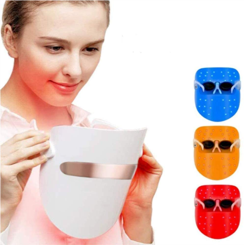 Light Therapy Face Mask LED Photon Therapy Lamp Device Spectral Skin Rejuvenation Skin Whitening Firming Mask Acne Treatment Anti-Wrinkle Face Skin Care Individual Lights of Red/Blue/Orange