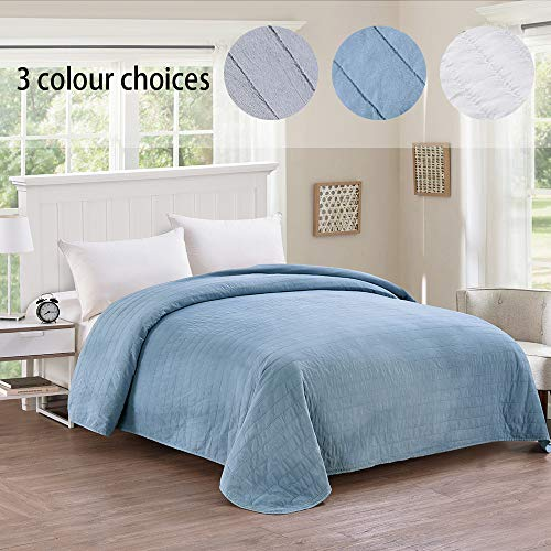 (Simple&Opulence Washed Super Soft Polyester Quilt Bedspread (Queen, Stripe-Blue))