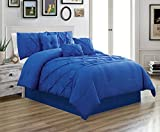 King Size Comforter Sets with Matching Curtains Grand Linen 7 Piece KING size Solid ROYAL BLUE Double-Needle Stitch Puckered Pinch Pleat Stripe Includes 1 Comforter, 3 Decorative Pillows, 1 Bed Skirt, 2 Shams