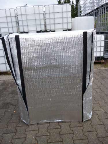 winterfeste IBC Frostschutzhaube MIT KLETTVERSCHLUSS / Thermohülle, Thermohaube für Wassertank, Regenwassertank 1000 Liter