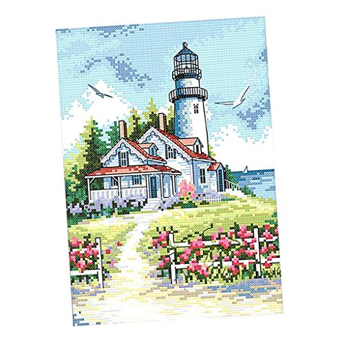 CUTICATE Seaside Lighthouse Stamped Cross Stitch Kit DIY Art Crafts & Sewing Needlepoints Kit for Beginners Kids Adults Embroidery Cross-Stitching Lovers