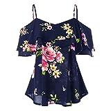 iTLOTL Women Floral Printing Off Shoulder Shirt Sleeveless Vest...
