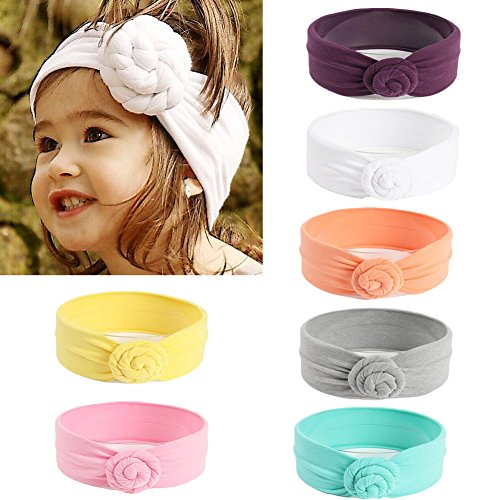 DANMY Baby Girl Super Stretchy Headband Big Lace Petals Flower Baby Hair Band Newborn Hair Accessories (Spiral Knot (7pcs))