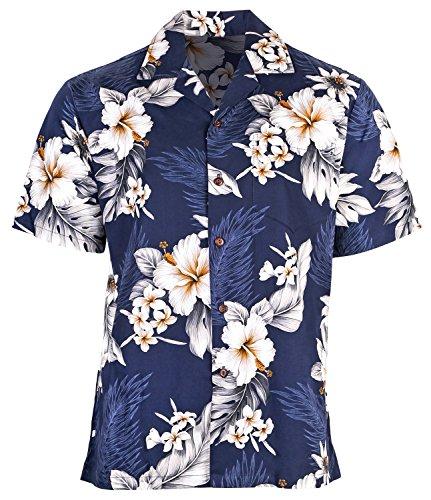 b6c3f73b4 Urban Fox Mens Floral Hawaiian Shirts for Men | Short Sleeve Button Down |  Aloha Luau
