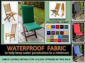 Resistente al agua Zippy cojín de espalda alta silla de comedor–beige + Beige tuberías–se adapta a pequeñas plegable sillas–muebles de jardín