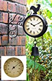 Cockerel and Bell Outdoor Clock and Thermometer - 47cm / 18.7in