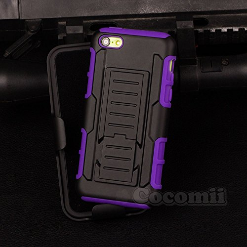 iPhone 5C Case, Cocomii Robot Armor NEW [Heavy Duty] Premium Belt Clip Holster Kickstand Shockproof Hard Bumper Shell [Military Defender] Full Body Dual Layer Rugged Cover Apple (Purple)