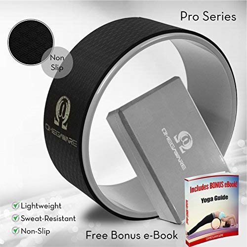 Yoga Wheel & Block [Pro Series] Dharma Yoga Prop Accessory, for Stretching and Improving Back Pain - Includes Pose Guide EBook 12 x 5 Inch