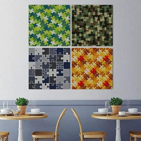Amazon Com Wall Art Painting Picture Difficult Endless Jigsaw Puzzle Pieces Modern Hanging Photo Canvas Prints 4 Pcs Per Set With Wooden Frames For Bedroom Living Room Office Home Decor 16x16 Inch Posters