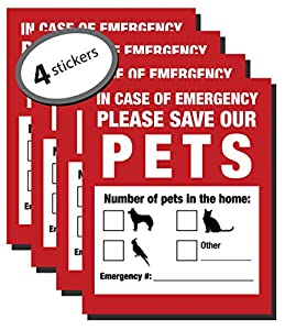 Pet Inside Finder Sticker - 4 Pack - In Case of a Fire Emergency, Firefighters will see the alert on your window, door, or house and know to rescue. These stickers help with dog and cat safety.