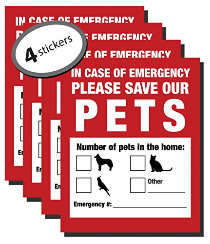 (Pet Inside Finder Sticker - 4 Pack - Adhesive on FRONT and BACK. In a Fire Emergency, Firefighters will see alert on the window, door, or house and rescue your cat / dog. Safety first in case of fire. )