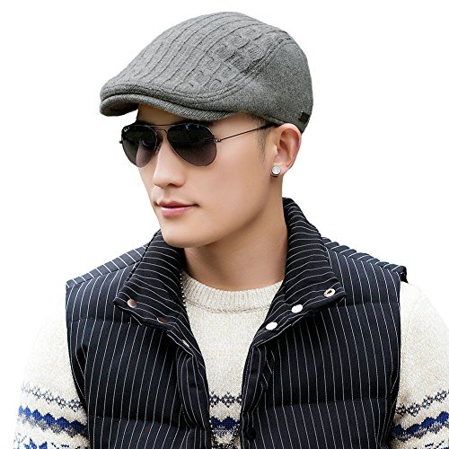 Duckbill Driver - Siggi Knit Irish Driver Cap for Men Cable Wool Knit Duckbill Ivy Flat Caps Grey One Size88090_grey