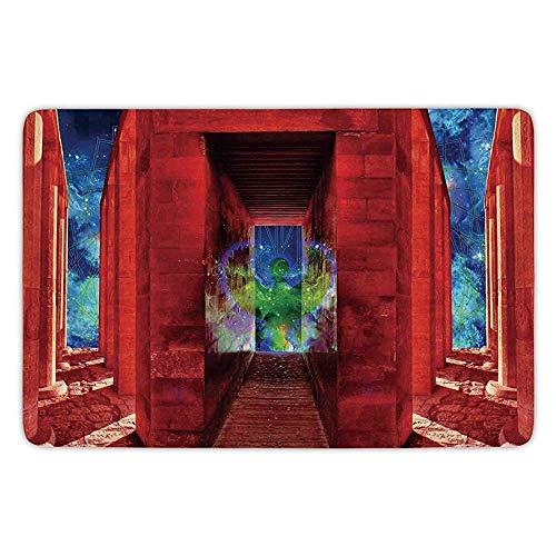 - Bathroom Bath Rug Kitchen Floor Mat Carpet,Egypt Decor,Phoenix Greek Myth Creature Reborn Bird in Building with Stairs Digital Image,Orange Blue,Flannel Microfiber Non-Slip Soft Absorbent