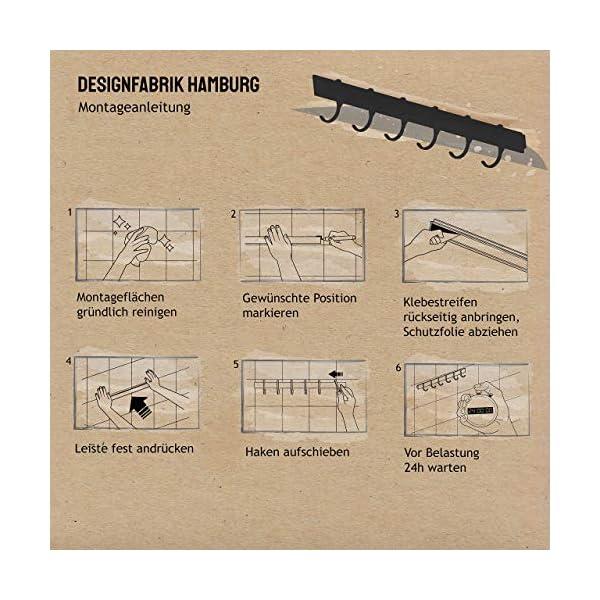 51hz0mdOZbL Designfabrik Hamburg | Hakenleiste Küchenleiste selbstklebend Hängeleiste Stange für Küchenutensilien | Küchenhalterung…