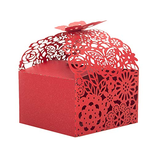 - Aspire 50PCS Floral Favor Boxes Laser Cut Candy Box for Bridal Shower, Baby Birthday Party (Red)
