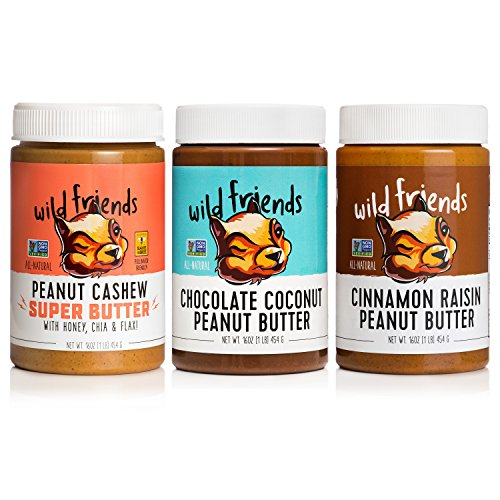 Wild Friends Foods Natural Peanut Butter Variety Pack, Peanut Cashew Super Butter, Chocolate Coconut, and Cinnamon Raisin, Gluten Free, Palm Oil Free, 3 Count ()