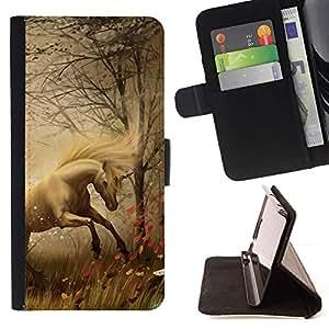 Momo Phone Case / Flip Funda de Cuero Case Cover - Horse Mane Hierba Niebla Niebla Stallion Mustang - Samsung Galaxy A3