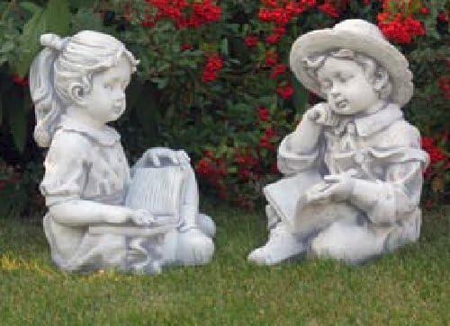 Chico & Chica con libro Juego (s101145 + s101146) Jardín figuras Estatua 44 cm: Amazon.es: Jardín