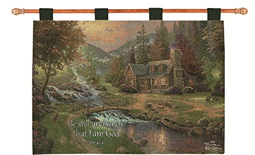 "Thomas Kinkade ""Cabin in the Country"" Religious Verse Pictorial Wall Art Hanging Tapestry 26″ x 36″ For Sale"