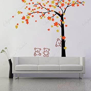 Amazoncom Custom PopDecals Autumn Tree and Bears 71 in