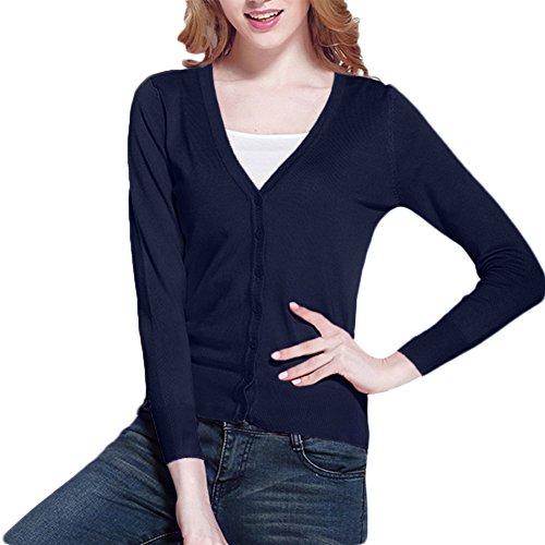 Pull Bleu Manches Fashion Col Longues V Xl Cardigan Basique Solide label Uk Boutonné 16 Aj Tricot Marine Femmes 14 n4d7wqEq0