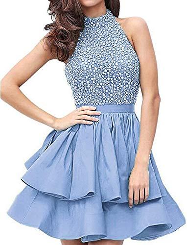 - Prom Dresses Beading Homecoming Party Dresses Short Hole Back,2,Iceblue
