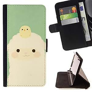 - Baby Lamb Easter Chick Baby Green - Estilo PU billetera de cuero del soporte del tir???¡¯????n [solapa de cierre] Cubierta- For Samsung Galaxy A3 £¨ Devil Case £©