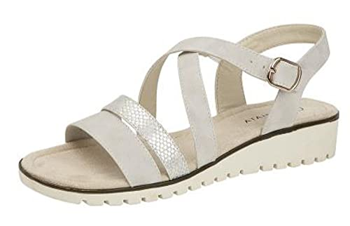 512eb7ba7ae CIPRIATA Womens Low Wedge Comfort Sandals Silver (6 UK)  Amazon.co ...
