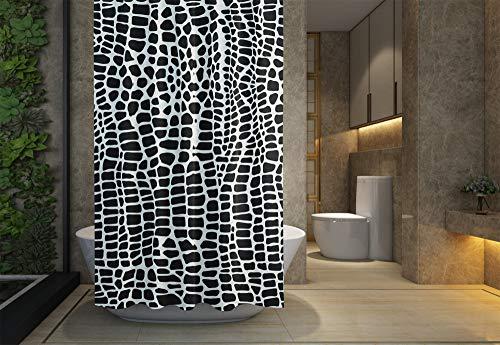 Jacrane Coastal Shower Curtain, Bathroom Shower Curtain Liner Waterproof Fabric,Pattern Leather Crocodile Skin Wallpaper Background Monochrome Paper Textile Fashiebdless Free Plastic Hooks,78X72Inch