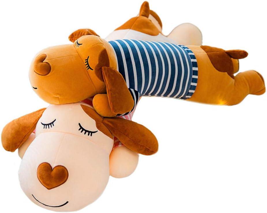 ZZKHSM Soft Sleeping Dog Doll Baby Party Plush Toy Pillow Girlfriend Birthday Gift-beige_powder_stripes Brown Blue Stripes