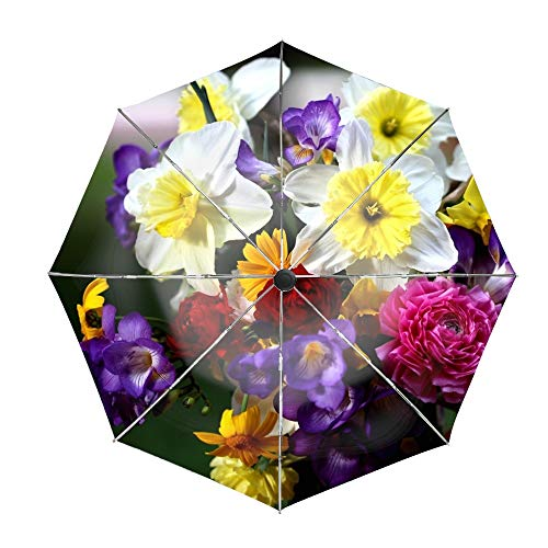 Travel Umbrella, 8 Ribs Finest Windproof Daffodils Roses Freesia Bouquet Flowers Umbrella with Teflon Coating, Auto Open Close and Upgraded Comfort Handle (Bouquet Wedding Freesia)