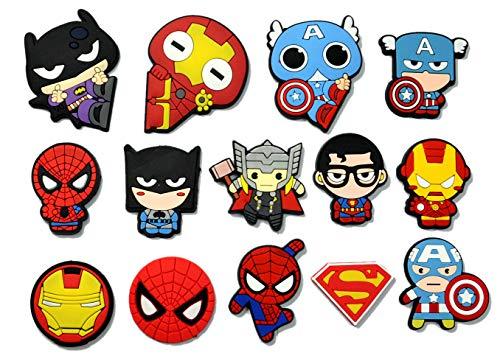 yaodq Superhero Fridge Magnet Goodie Bag Stuffer Holiday Charms for Kids Birthday Party Favors School Carnival Reward Prizes Decoration Supplies (14pcs Superhero)