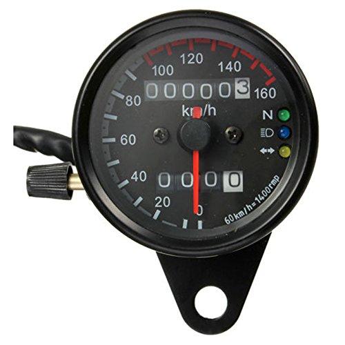 Moto double compteur kilometrique Compteur de vitesse Gauge kmh retro-eclairage LED 12V Noir TOOGOO R Compteur de vitesse